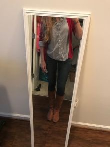 Shirt (excuse the wrinkles): Old Navy; Sweater: Target; Jeans: American Eagle; Boots: Nine West; Necklace: gift