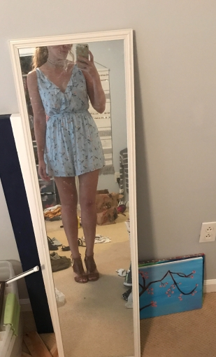 Romper: Ivy & Leo; Shoes: Target (excuse the messy room)